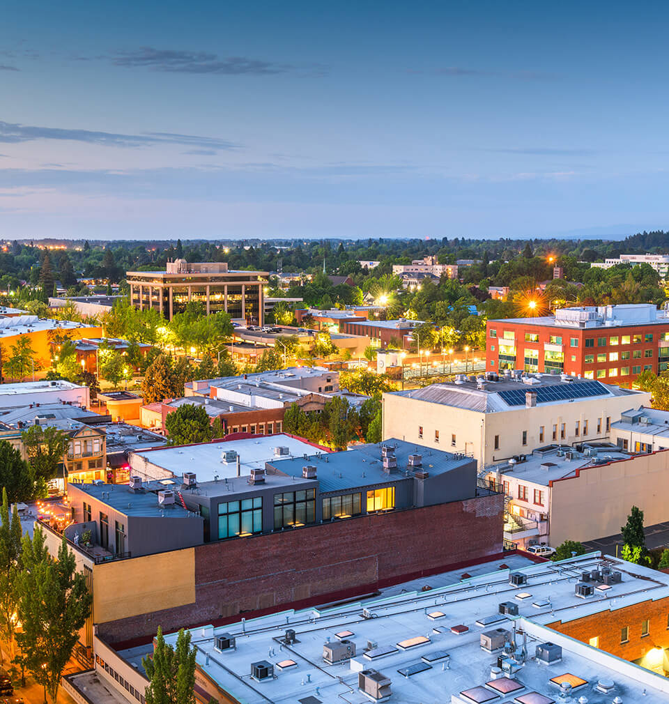 a late afternoon birds-eye view of Salem, Oregon