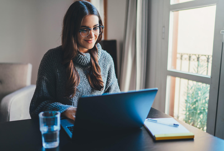 woman at a laptop computer